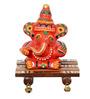 ExclusiveLane Red Terracotta Hand-painted Ganesha Sheesham Chowki