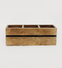 Fabuliv Rusty Mango Wood 3 Compartments Cutlery Holder