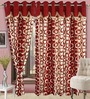 Cortina Precious Red Polyester Eyelet Window Curtain- Set of 2