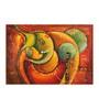 Fizdi Canvas 36 x 0.2 x 24 Inch Red & Green Shade Ganesha Unframed Art Painting