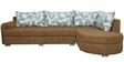 Flora LHS Sofa in Light Brown Velvet Fabric by Sofab