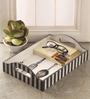 Fluke Design Company White and Black MDF Handpainted Tray