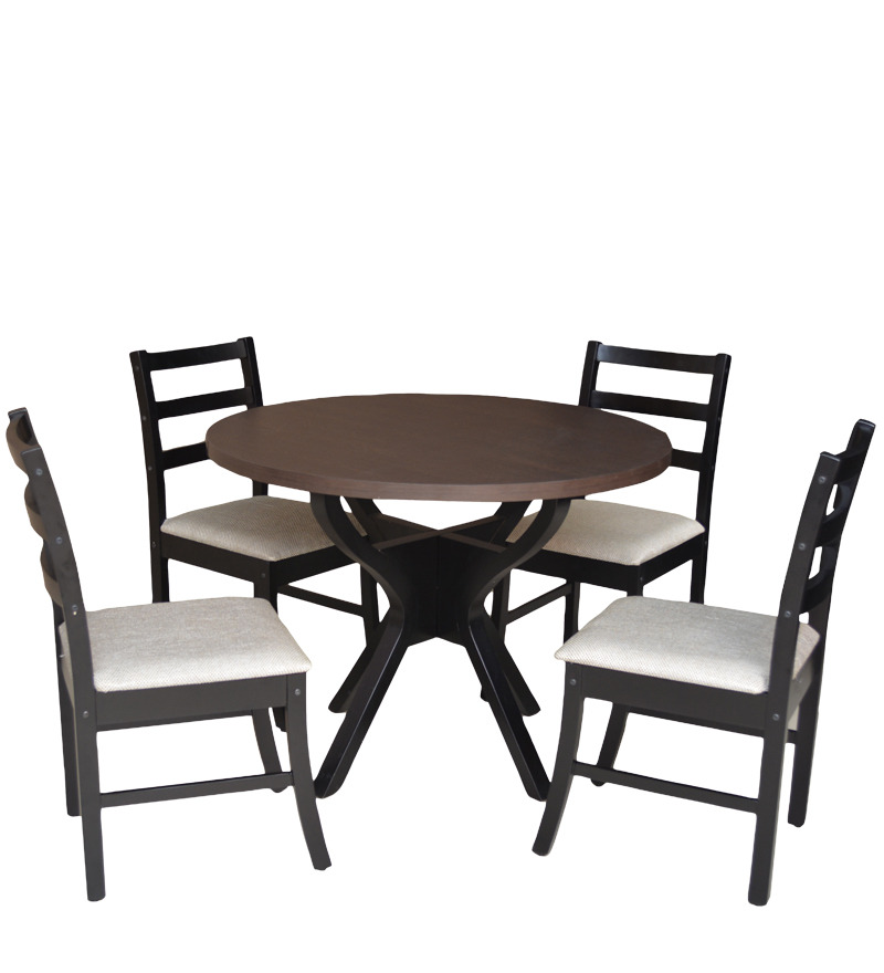 buy four seater dining set with four chairs in wenge colour by crystal