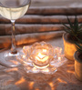 Fourwalls Multicolour Glass Lotus Candle Holder - Set of 3