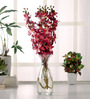 Fourwalls Pink Synthetic Artificial Mokara Orchid Flower Stem - Set of 4