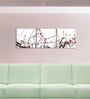 Go Hooked MDF 27 x 9 Inch 3-Panel Flower Branches Wall Decor