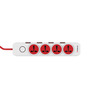 Goldmedal i-Design Red and White 10 Ampere 12.9 x 5.8 x 1.5 Inch Power Strip