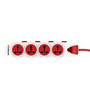 Goldmedal Plugged-IN White and Red 10 Ampere 14 x 7 x 1.3 Inch Power Strip