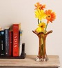 Sanskruti Orange Orange Leaf Handmade Vase