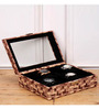 Height of Designs MDF Wood & Velvet Brown 8-Slots Watch Organiser with Key Lock
