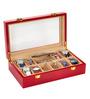 Height of Designs MDF Wood & Velvet Red Watch & Jewellery Organiser