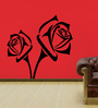 Highbeam Studio Black Self Adhesive Poly Vinyl Film Refreshing Rose Wall Decal