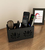 Home Sparkle Black Engineered Wood Compact Designed Remote Cum Mobile Holder
