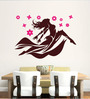 Hoopoe Decor Brown Vinyl Dancing Girl with Pink Flower Wall Decal