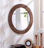 Hosley Brown Wood & MDF Decorative Round Log Slices Carved Wall Mirror