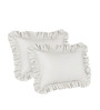 Hothaat Solid White King 2Pc Ruffle Pillow Covers