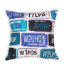 House This Blue Cotton 16 x 16 Inch Bike-Number Plates Cushion Cover