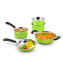 Ideale Green Stainless Steel Induction Friendly 5-piece Cookware Set