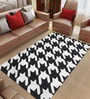 Imperial Knots Black & White Wool 96 x 60 Inch Hound Stooth Flat weave Area Rug