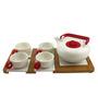 Importwala Red Ceramic and Wood 6-piece Tea Pot Set