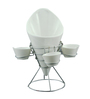 Importwala Ceramic French Fries Holder with Dips & Stainless Steel Stand