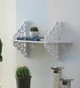 Importwala White Wood Plastic Composite Floating Curls Wall Shelf