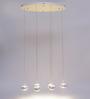 Jainsons Emporio Plazi White Metal 6 Cluster Hanging Lamp