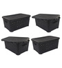 Jaypee PPR Plastic Black Basket with Lid 5 L- Set of 4