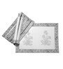 Jodhaa Floral White And Grey Cotton Table Mats - Set Of 8