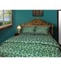 Just Linen Dark Green Cotton Queen Size Flat Bedsheet - Set of 3