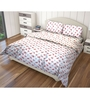 Just Linen Red and Green Cotton King Size Flat Bedsheet - Set of 3