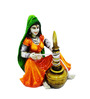 Karigaari Multicolour Polyresin Lady Making Curd Idol Statue Showpiece