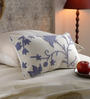 KEH Blue & White Cotton & Wool 12 x 20 Inch Spring Cushion Cover