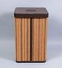 Kraftsmen Brown Faux Leather & Chic 10 L Multicolour Laundry Basket
