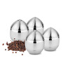Liefde Silver Stainless Steel 50 ML Oval Salt and Pepper Storage - Set of 4