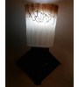 Lime Light Brown & White Glass & Wood Wall Lamp