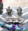 Little India Silver Metal White Lord Laxmi Ganesha Idol with Diya Set