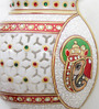 Little India White Marble Golden Meenakari Jali Cut Work Hanging Flower Vase