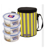 Lock&Lock Transparent Polypropylene Lunch Boxes with Brunch Tall Bag - Set of 3