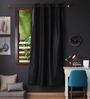 Lushomes Black Polyester 90 x 54 Inch Twinkle Star 8 Eyelets Door Curtain with Blackout Lining - Set of 2