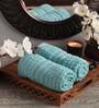 Lushomes Blue Cotton 16 x 26 Hand Towel - Set of 2