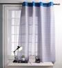 Lushomes Blue Cotton 60 x 54 Inch Diamond Printed Windows Curtain with 8 Eyelets & Plain Tiebacks - Set of 2