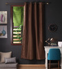 Lushomes Brown Polyester 90 x 54 Inch Twinkle Star 8 Eyelets Door Curtain with Blackout Lining - Set of 2
