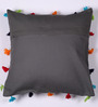 Lushomes Grey Cotton 16 x 16 Inch Cushion Cover with Pom Pom