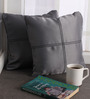 Lushomes Metallic Blackout Polyester 12 x 12 Inch Cushion Cover with Artistic Stitch - Set of 2