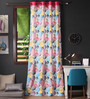 Lushomes Multicolour Cotton 108 x 54 Inch Circles Printed Long Door Curtain with 8 Eyelets & Plain Tiebacks - Set of 2