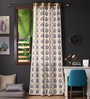 Lushomes Multicolour Cotton 108 x 54 Inch Earth Printed Long Door Curtain with 8 Eyelets & Plain Tiebacks - Set of 2