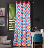 Lushomes Multicolour Cotton 108 x 54 Inch Square Printed Long Door Curtain with 8 Eyelets & Plain Tiebacks - Set of 2