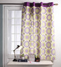 Lushomes Multicolour Cotton 60 x 54 Inch Bold Printed Windows Curtain with 8 Eyelets & Plain Tiebacks - Set of 2