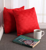 Lushomes Red Polyester 12 x 12 Inch Embossed Blackberry Cushion Cover - Set of 2